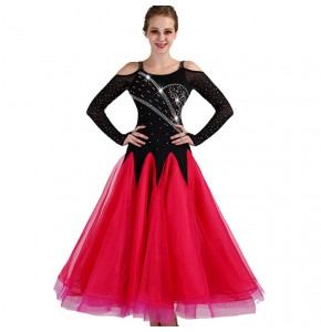Competition ballroom dresses for women girls competition big skirted long length black and fuchsia professional waltz modern dress