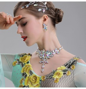 competition dance Rhinestones bling necklace women's waltz tango ballroom dancing choker necklace