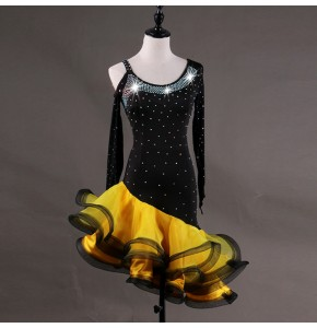 Competition latin dresses for women growth robe latine diamond pink yellow and black  stage performance salsa chacha rumba dancing costumes