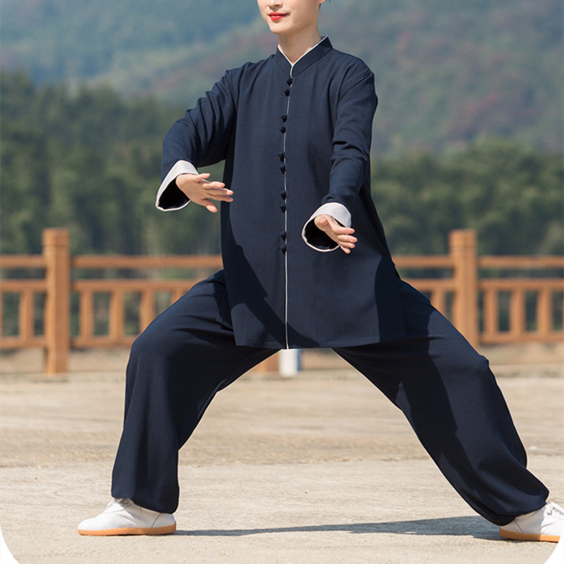 Cotton and linen Tai Chi clothing Kung fu uniforms for female and male wushu martial arts practice suit male moring exercises clothes spring and autumn