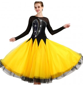 Custom ballroom competition dress for women black yellow patchwork diamond waltz tango stage performance long dresses