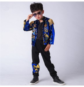 Custom size boys drummer jazz dance costumes  hiphop modern street performance dancing  outfits sequin green blue jacket and pants