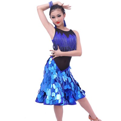 Custom size Competition Latin dance performance dresses for girls royal blue paillette modern dance standard dresses