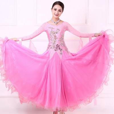 Custom size handmade girls women pink competition ballroom dancing dresses waltz tango dancing dresses