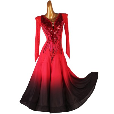 Custom size rhinestones black and red gradient competition ballroom dance dresses for women girls waltz tango dance dress for female