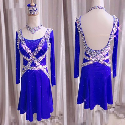 Custom size royal blue competition latin dresses for girls  women female stage performance children professional samba chacha rumba dance costumes