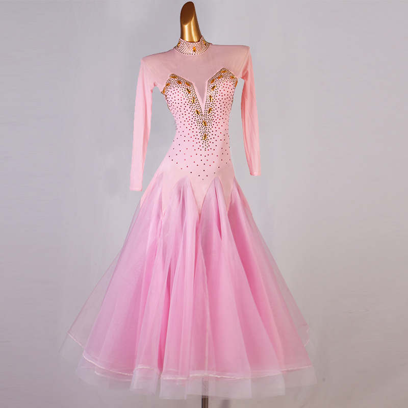 Custom size women girls light pink diamond competition ballroom dance costumes ballroom dance skirts stage waltz tango dance gown for female