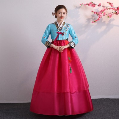 Embroidered Korean Hanbok Dress Women Oriental Traditional Palace Wedding Clothing Ethnic Minority Dance Costumes