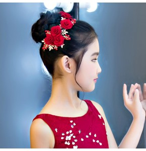 Evening dress hair accessories for girls kids children princess party show stage performance photos hair rose clip hairpin