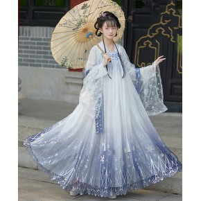 Feather fall Hanfu female adult breast length Ru skirt elegant fairy skirt six meter large sleeve shirt cover