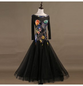 Flamenco ballroom dancing dresses for girls women female floral competition professional waltz tango dancing skirt dresses