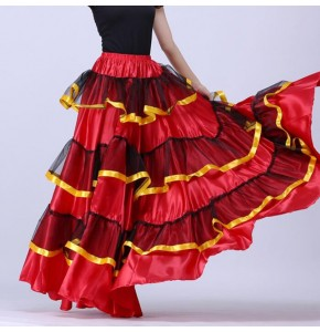 Flamenco dance skirts fow women paso dance skirts stage performance chorus opening dance swing skirts