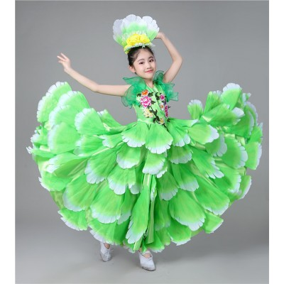 Flamenco dresses for girls petals ballroom green pink red opening dancing chorus stage performance competition dresses