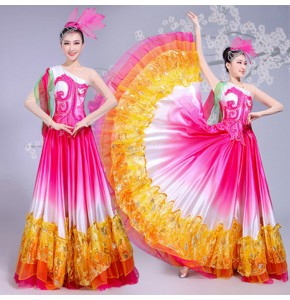 Flamenco dresses for women female pink gradient Spanish bull dancing chorus opening dancing big skirted long dresses