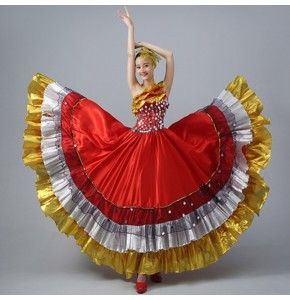 Flamenco dresses Spanish bull dance for women girls red color competition stage performance professional ballroom dresses