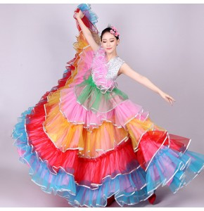 Flamenco rainbow dresses competition stage performance for women Spanish folk bull dance big skirted long dresses