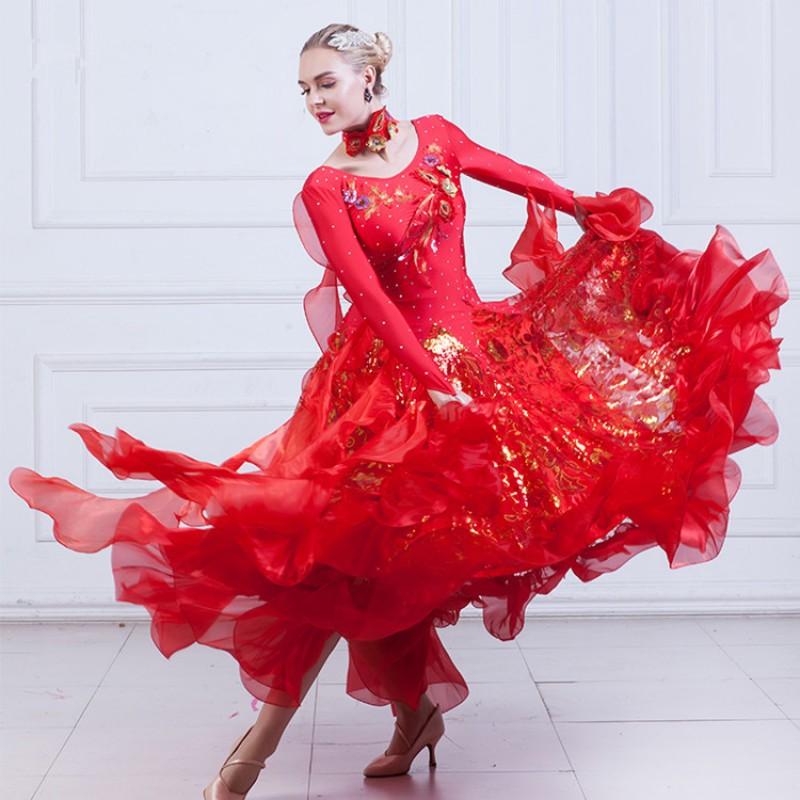 Flamenco Red Ballroom Dance Dresses For Women Robe De Danse De Salon Waltz Tango Competition Diamond Stage Performance Costumes