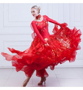 Flamenco red ballroom dance dresses for women Robe de danse de salon waltz tango competition diamond stage performance costumes