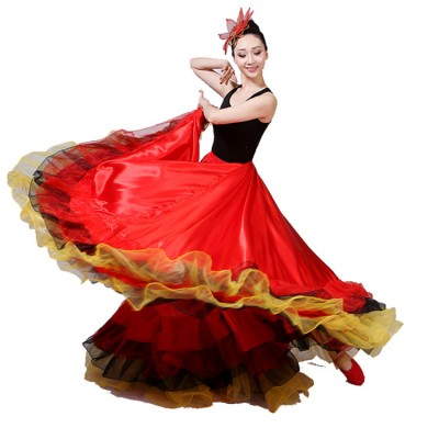 flamenco skirt for women red Spanish folk dancing stage performance spanish bull dance skirts