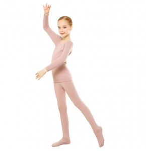 Fleece Thick Warm Dance Girls Dance stage performance Long Johns Kids children Thermal Underwear Set Kids skin color Clothes Set