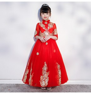 Flower girls evening party dress children birthday party host singers model show stage performance dress piano competition long dresses for kids