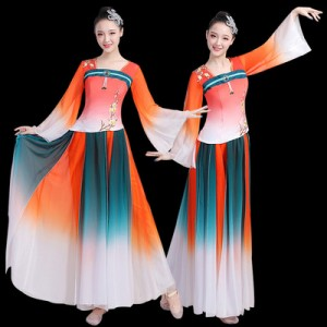 Folk dance clothes women's gauze clothes elegant and fresh new Chinese style dance clothes fan dance suit