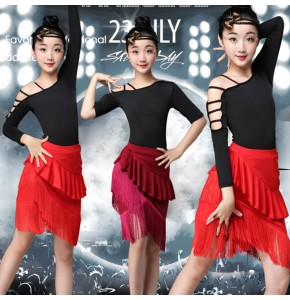 Fringe Latin Dance Dress For Girls Child Salsa Tango Ballroom Dancing Dress Competition Costume Kids Practice Dance Clothes 5.0