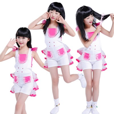 Girl Kids Hip Hop Modern Dance costumes Children Sir Dance Costume Suit Paillette Cheer leading dresses