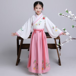 Girls ancient chinese folk dance dresses hanfu fairy princess photos drama zither zheng performance cosplay costumes clothes
