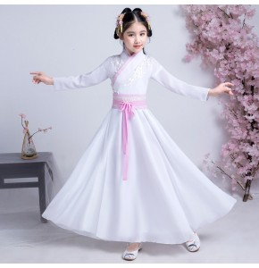 Girls ancient folk dance dresses white hanfu fairy traditional princess photos drama party cosplay stage performance dresses robes