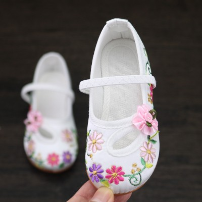 Girls baby kids chinese folk dance shoes embroidered princess fairy drama cosplay clothing comfortable shoes
