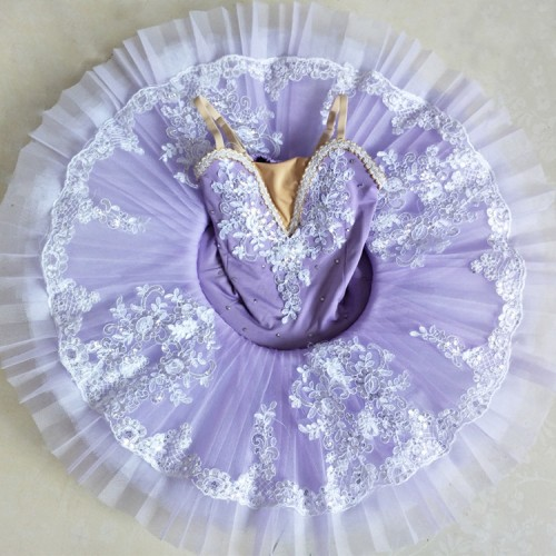 Girls ballet dance dresses ballerina swan purple  lake competition stage performance tulle pancake classical dance tutu skirts dresses
