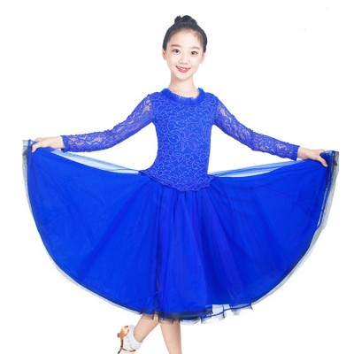 Girls ballroom dance dresses for kids children royal blue red lace long sleeves long length flamenco dresses