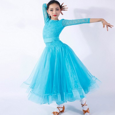 Girls ballroom dance dresses turquoise red black lace long sleeves waltz flamenco stage performance competition skirt dresses