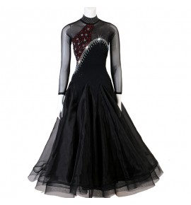 Girls ballroom dancing dresses women black colored waltz tango dance dress