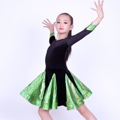 Girls ballroom dress kids children competition performance latin rumba chacha velvet green violet blue patchwork salsa dancing dresses
