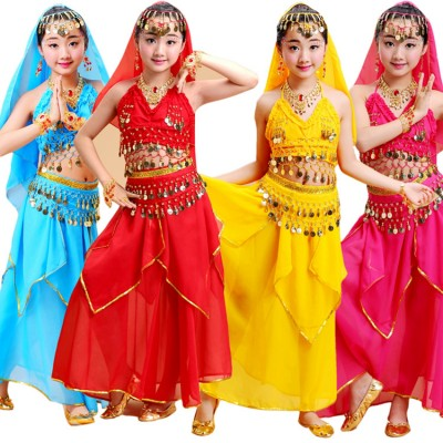 Girls belly dance dresses indian Egypt queen dancing costumes competition stage performance belly dance costumes for kids