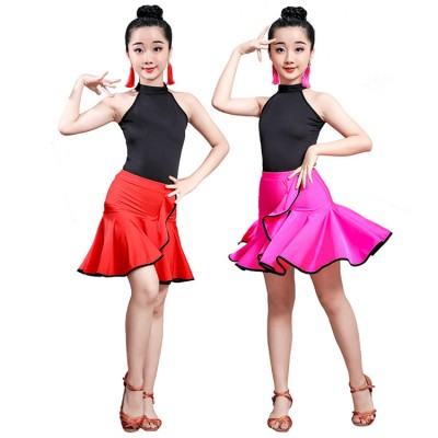 Girls black and red pink latin dance dress stage performance salsa rumba chacha dance costumes dresses