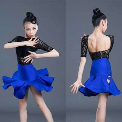 Girls black with blue lace competiiton latin dance dresses salsa rumba chacha dance dresses