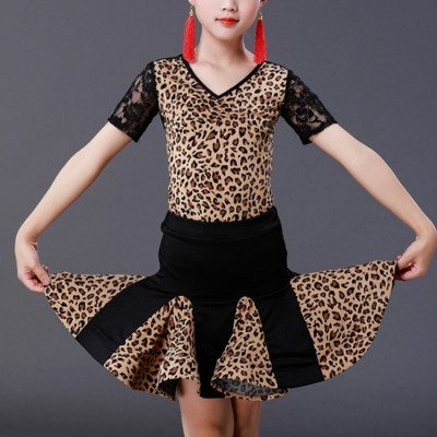 Girls black with leopard latin dance dresses stage performance rumba salsa chacha dance leotard top and skirts