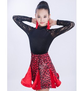 girls Black with leopard velvet ballroom latin dance dresses kids salsa rumba chacha dance dress