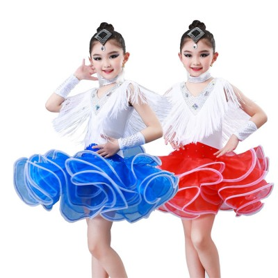 Girls blue competition latin dance dresses modern dance dress for kids ballet stage performance salsa chacha rumba dance skirts costumes