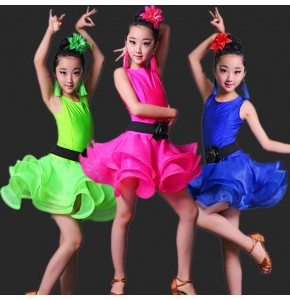 Girls Blue Red Professional Latin dancing dress Kids Ballroom Salsa Dance wear Outfits Children's Party Stage wear costumes
