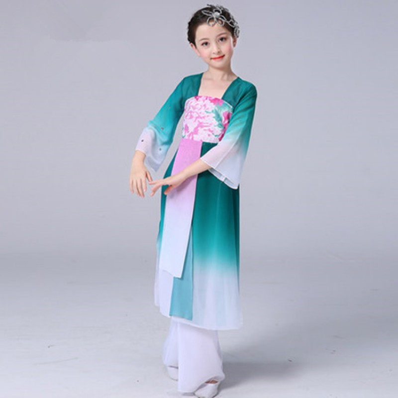 Girls blue with floral chinese folk dance costumes princess hanfu traditional classical dance fairy cosplay dresses
