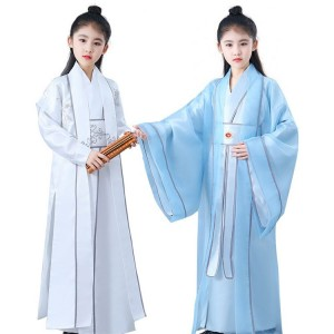 Girls boys chinese folk dance hanfu stage performance warrior drama cosplay stage performance robes dresses
