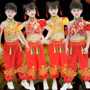 Girls boys chinese folk dance kunfu martial costumes children china dragon drummer stage performance costumes