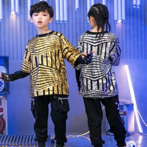 Girls boys gols silver sequin jazz dance costumes model show hiphop street dance outfits for children school recital competition tops and pants