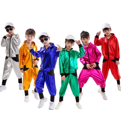 Girls boys jazz dance costumes glitter street hiphop modern dance outfits school show performance costumes