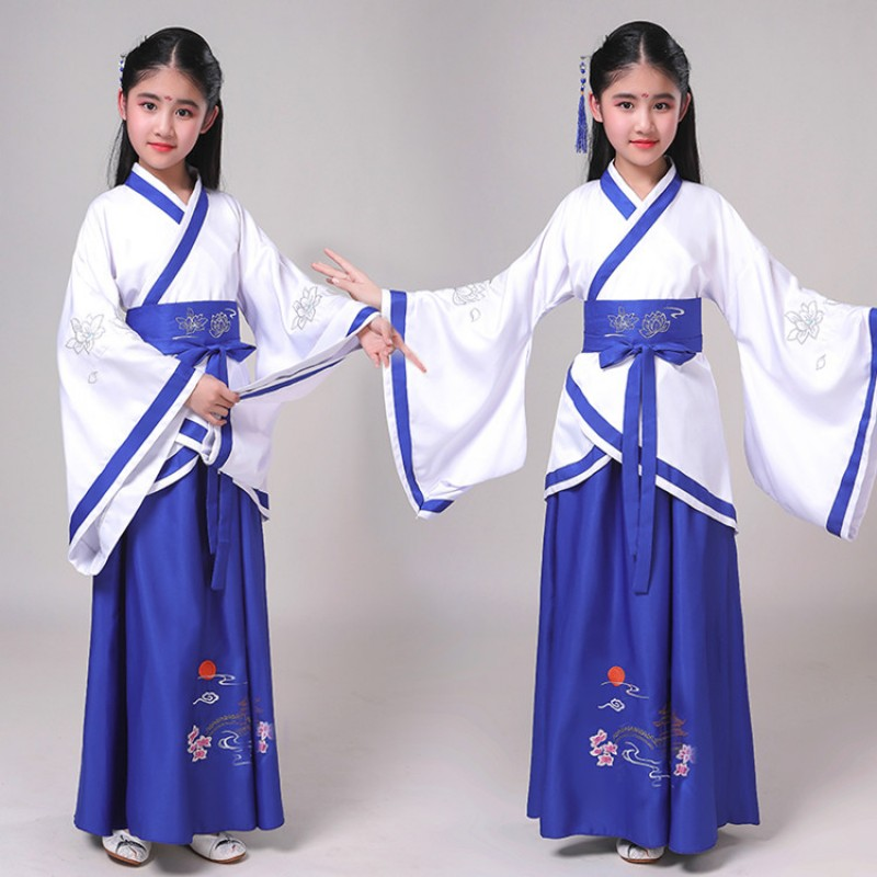Girls boys kids Chinese Hanfu ancient traditional drama cosplay kimono fairy dresses princess empress stage performance dresses