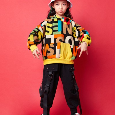 Girls boys letters hiphop street dance costumes singers model show performance outfits rap gogo dancers tops and pants